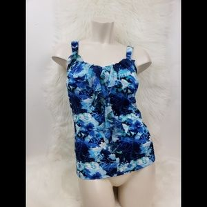 WHBM blue floral ruffled tank top